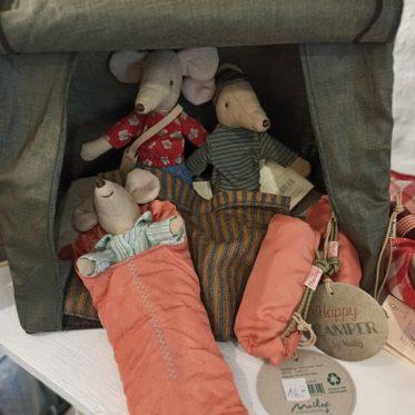 drei Mäuse im Zelt mit Schlafsack